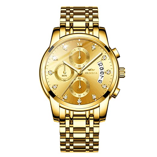 Inoxydable Olmeca Hommes Luxe Chronographe Montres Étanches De Homme Quartz Bracelet Pour Montre Acier Mode En À Yfbv7y6g