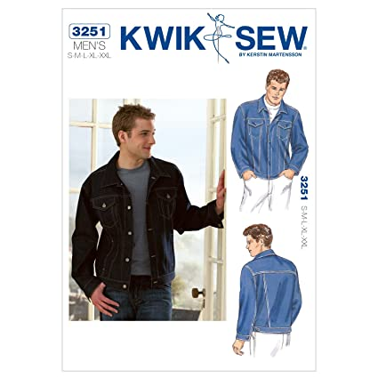Amazon.com: Kwik Sew K3251 Jean Jacket Sewing Pattern, Size S-M-L-XL ...