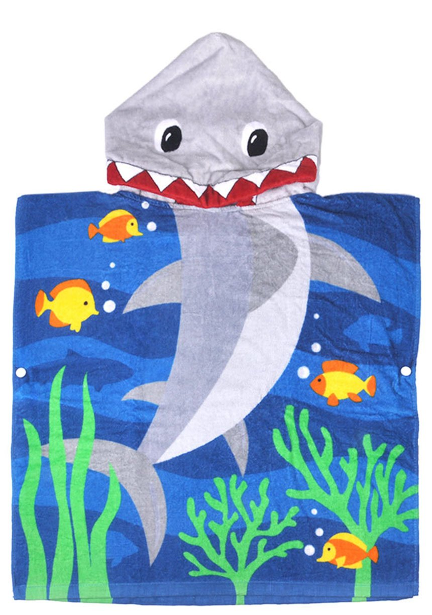 Cunina 100% Cotton Bath&Beach Hooded Towel, Highly Absorbent Children's Poncho Towel, Shark Hooded Towel for Boys Girl