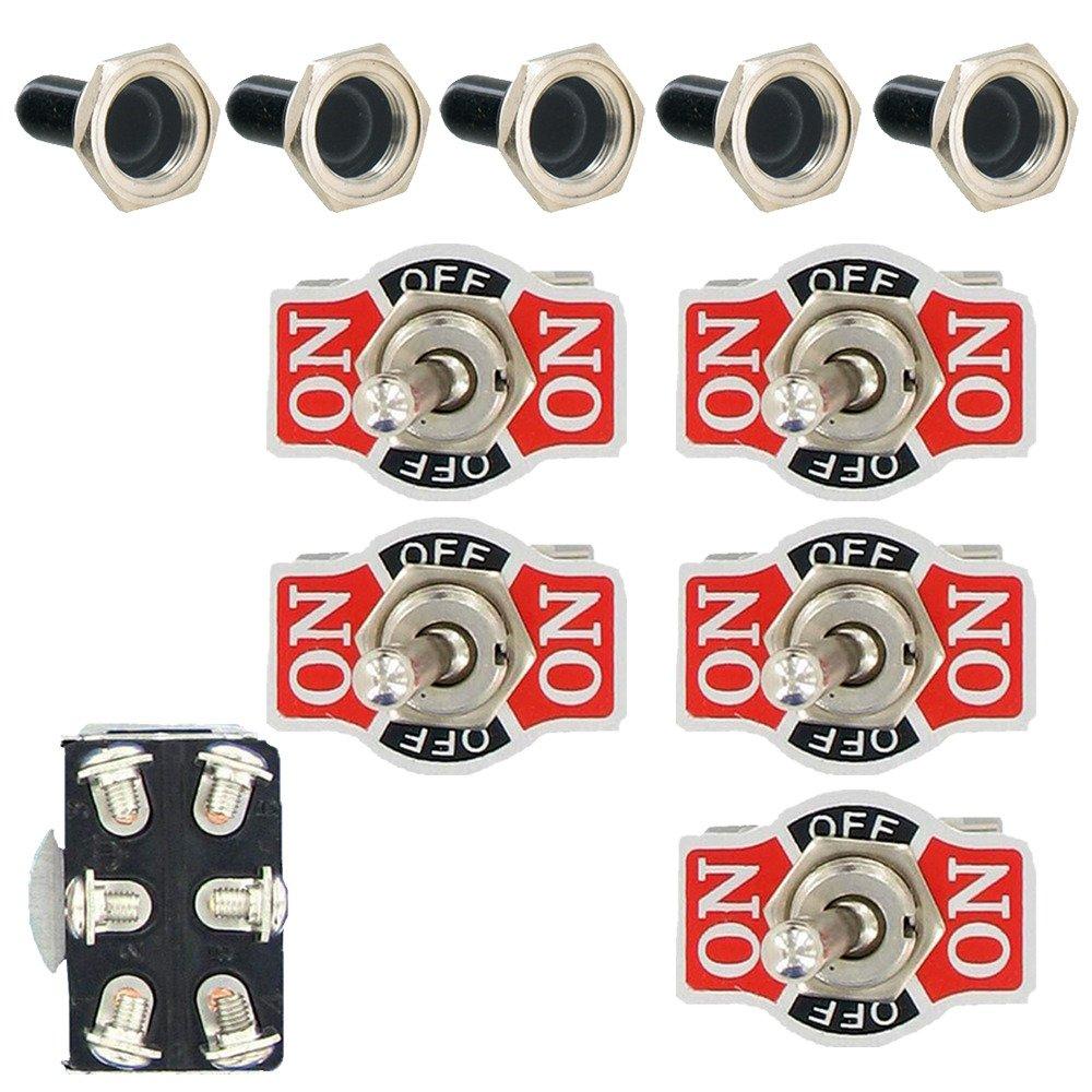 Etopars 5 X Heavy Duty 20A 125V 15A 250V SPST 2 Terminal Pin ON//OFF Rocker Toggle Switch Flick Metal Waterproof Cap Knob