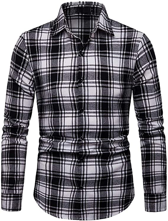 Simayixx Mens Tops Plus Size Button Up Mens Classic Slim Fit Plaid Print Cotton Dress Casual Shirts with Pockets