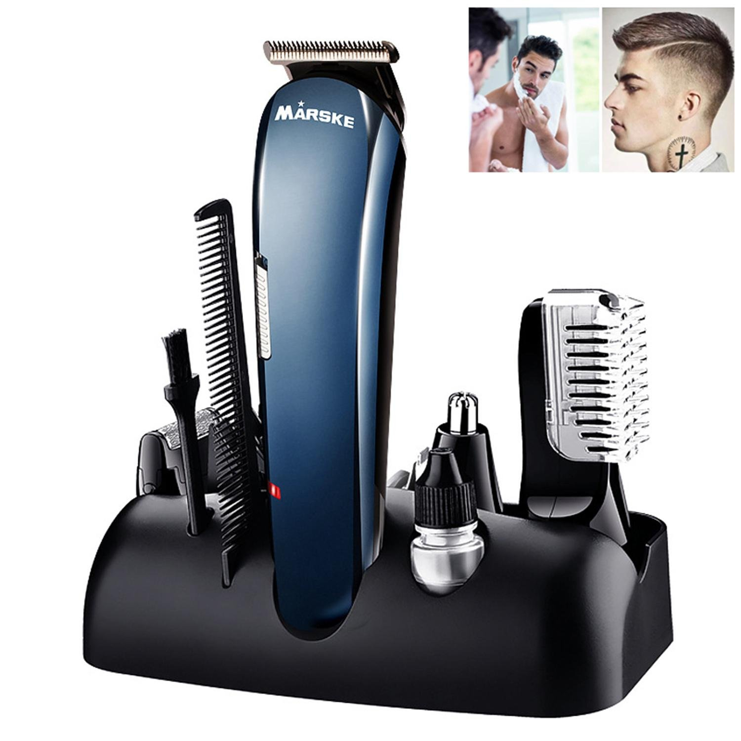 Beard Trimmer, Aolvo 5 in 1 Rechargeable Electric Multifunction Hair Beard Nose Ear Eyebrow Shaver for Men , Skin-friendly Fast Charging Long Lasting Precision Shaper and Clipper - US Plug