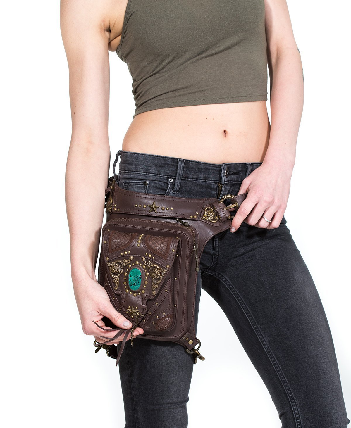 VINTAGE VIBES Brown Leather and Turquoise Stone Hip Bag / Shoulder Holster / Cross-body Bag