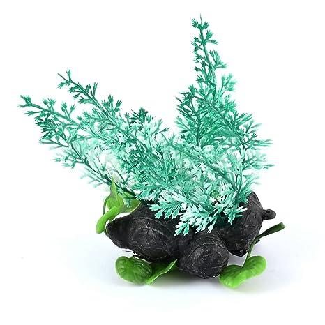 sourcing map Luz Verde Acuario Pecera decoración plástica Falsa Hierba Artificial de Plantas de Tratamiento de