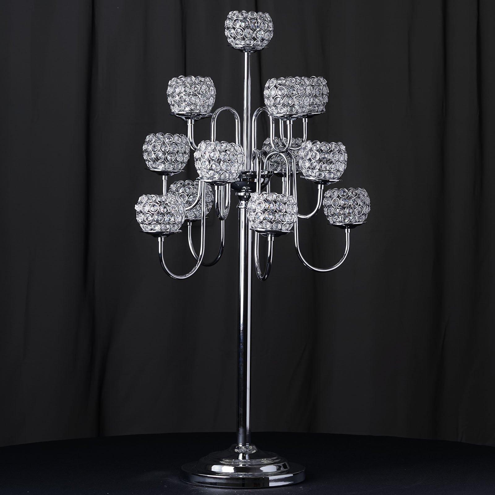 Efavormart 39.5'' Silver Crystal Beaded 13 Arm Candelabra Chandelier Votive Candle Holder Wedding Centerpiece by Efavormart.com (Image #2)