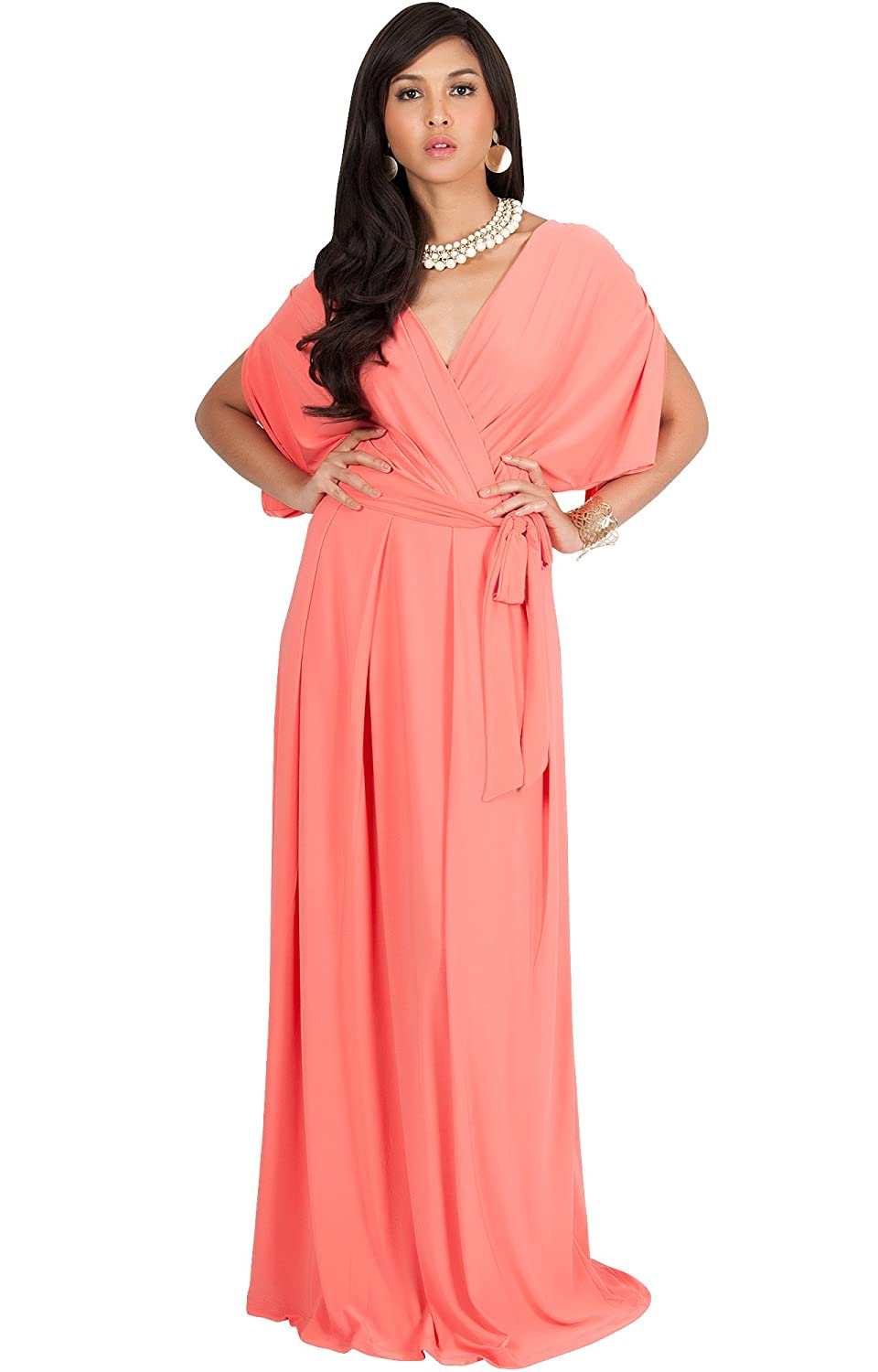 Koh koh womens long formal short sleeve cocktail flowy v neck gown koh koh womens long formal short sleeve cocktail flowy v neck gown maxi dress at amazon womens clothing store ombrellifo Gallery