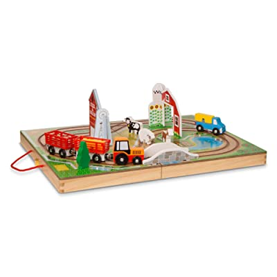Melissa & Doug Take-Along Farm (Wooden Portable Play Surface, 17Piece, Great Gift for Girls & Boys - Best for 3, 4, & 5 Year Olds): Toys & Games