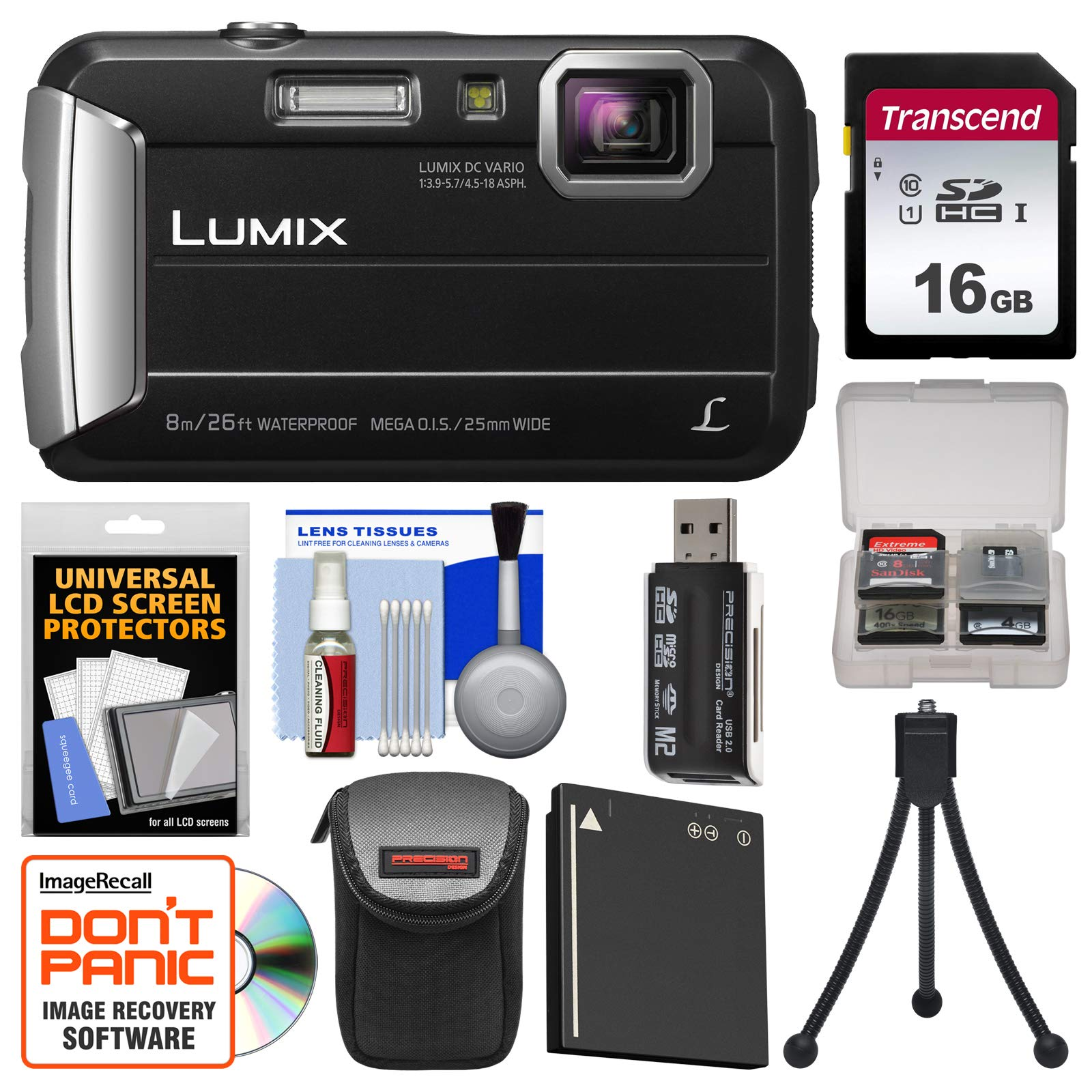 Panasonic Lumix DMC-TS30 Tough Shock & Waterproof Digital Camera (Black) with 16GB Card + Case + Battery + Flex Tripod + Kit