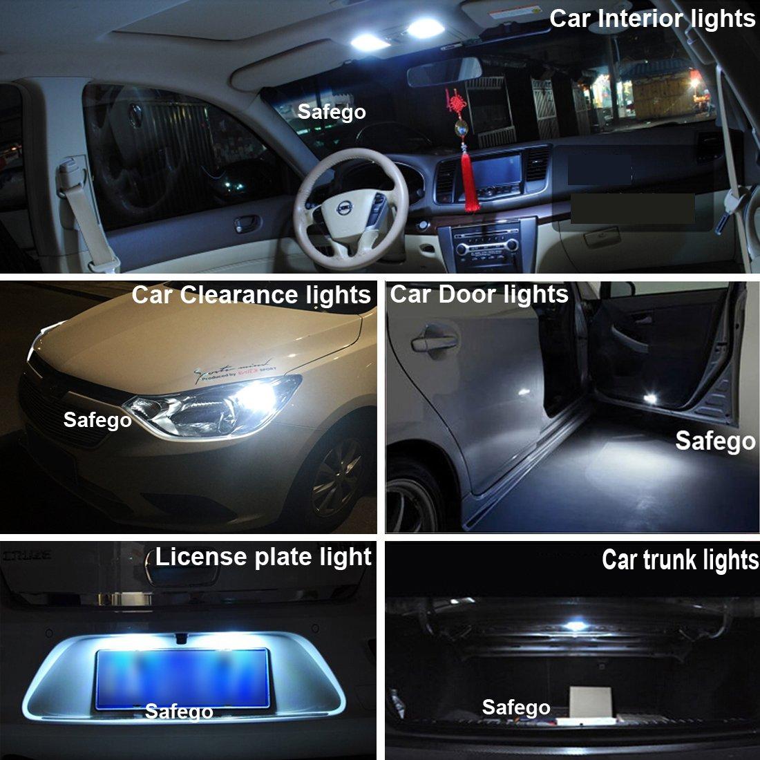 Camion Safego T10 LED Ampoules de voiture lampe 194 168 2825 W5W 10 SMD 7020 Auto WEDGE BULBES BLANC Blanche ULTRA BRILLANT White LONGUE VIE Bulbe de remplacement pour caravane voiture Arri/ère 12V