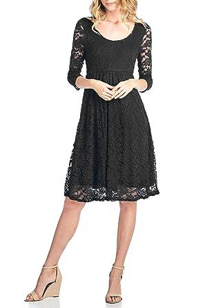 1d77631affeb Beachcoco Women's 3/4 Sleeve Knee Length Lace Dress at Amazon ...