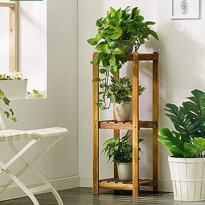 LRW Indoor Solid Wood Flower Stand Floor Three-Layer Save Space Flower Pot Rack Balcony Living Room Flower Stand: Garden & Outdoor