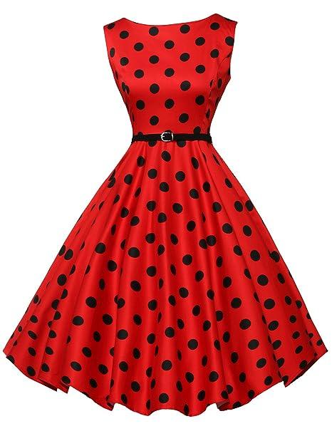 Sin Manga Vestido Vintage de los Años 1940 Rockabilly Swing Lunares Vestido para Mujer Tamaño XL