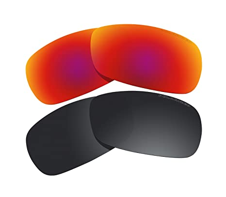 9baba63358 2 Pairs Polarized Lenses Replacement red   black for Oakley Crosshair 2.0  (OO4044) Sunglasses - - Amazon.com
