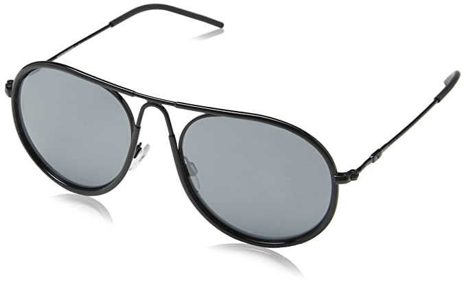 edb26715857c Emporio Armani EA2034 - 30146G Black Round Sunglasses at Amazon ...