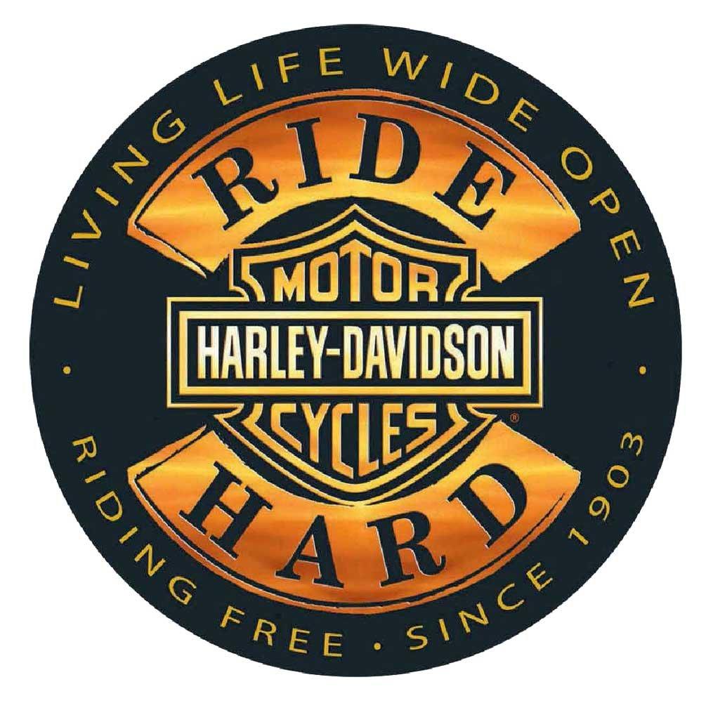 HARLEY-DAVIDSON Ride Hard Round 14 Inch Tin Sign 2010671
