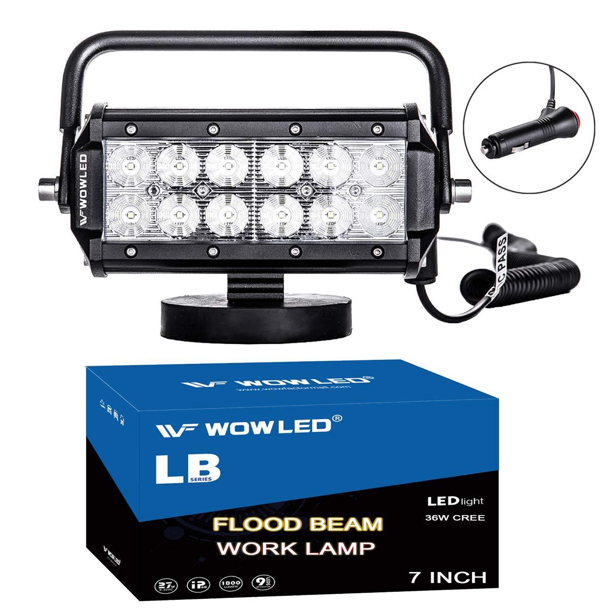 WOWLED 36W Floodlight LED Work Light Magnetic Base Mount Bracket Portable LED Light Bar Flood Beam Lamp for Car SUV Truck Boat Bar Jeep Off-Road Driving Lamp Fog Spot Lights by WOWLED