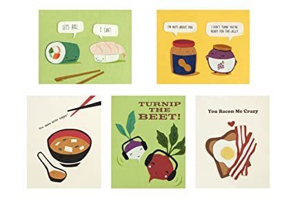Amazon fair trade funny food greeting card set of 5 recycled fair trade funny food greeting card set of 5 recycled handsigned by maker m4hsunfo