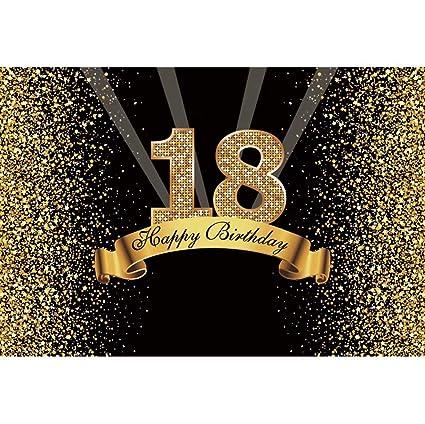Cassisy 2,2x1,5m Vinilo Cumpleaños Telon de Fondo 18 cumpleaños telón de Fondo Lentejuelas Brillantes Rayos Oro Negro Fondos para Fotografia Party ...