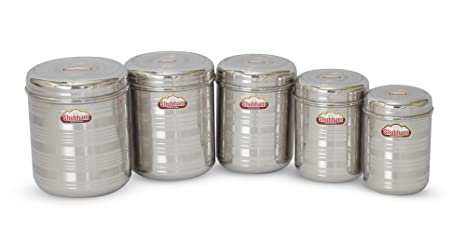 7237714abe8 Buy Shubham Kitchen Storage Steel Container 5 Pc Set .8 to 3Litre  -OrangeS10-14 Online at Low Prices in India - Amazon.in