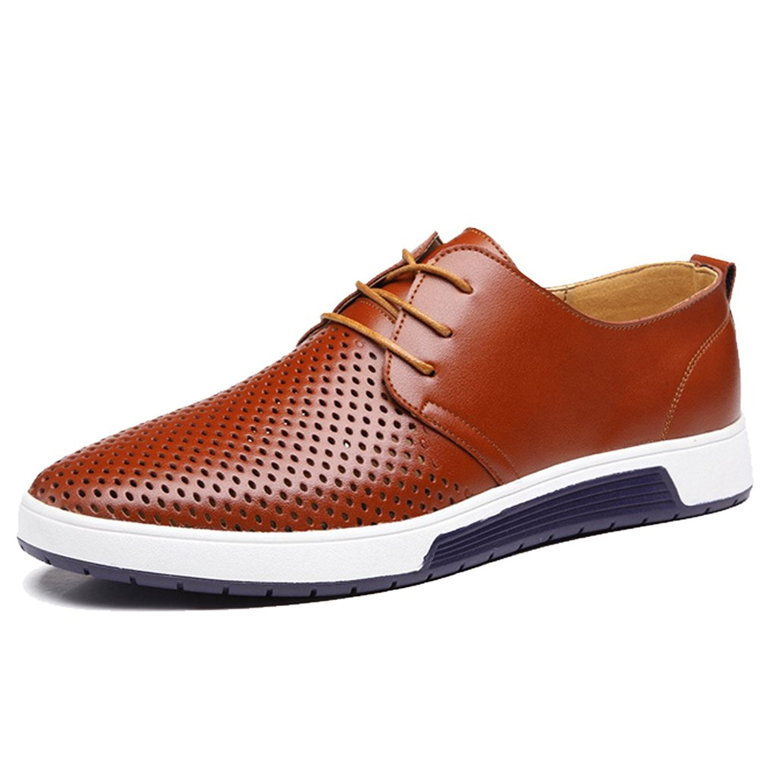 Zzhap Men's Casual Oxford Shoes Breathable Flat Fashion Sneakers Brown US 10.5