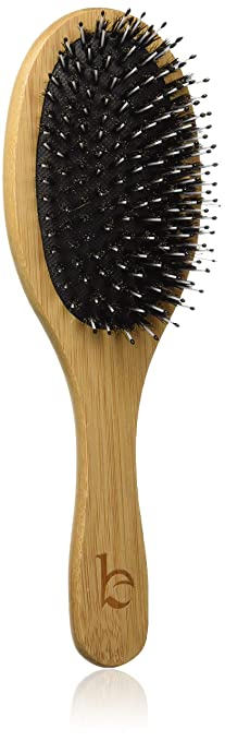 Boar Bristle Hair Brush - Natural Wooden Bamboo Handle