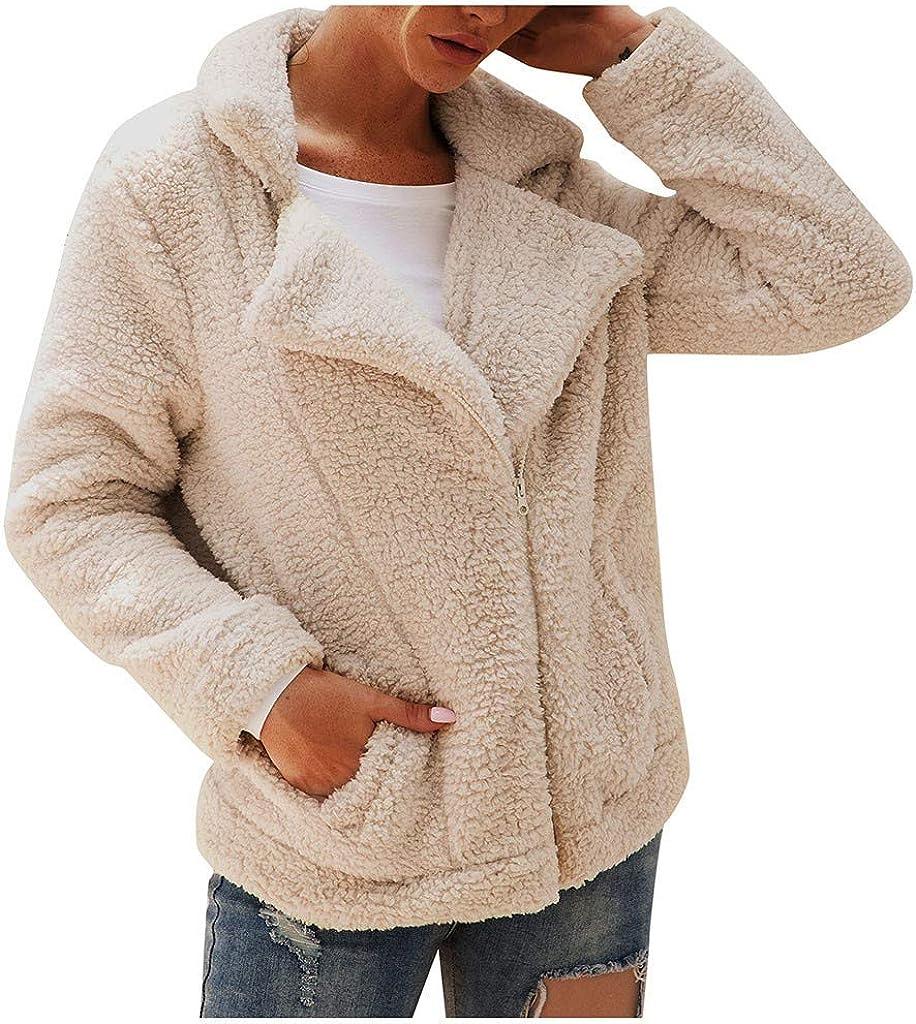 Xinantime Chaqueta De Invierno para Mujer Casual Outwear Parka Piel de Imitación de Solapa con Cremallera para Mujer de Oveja Chaqueta de Vellón Difusa Oso de Peluche Abrigo Cálido