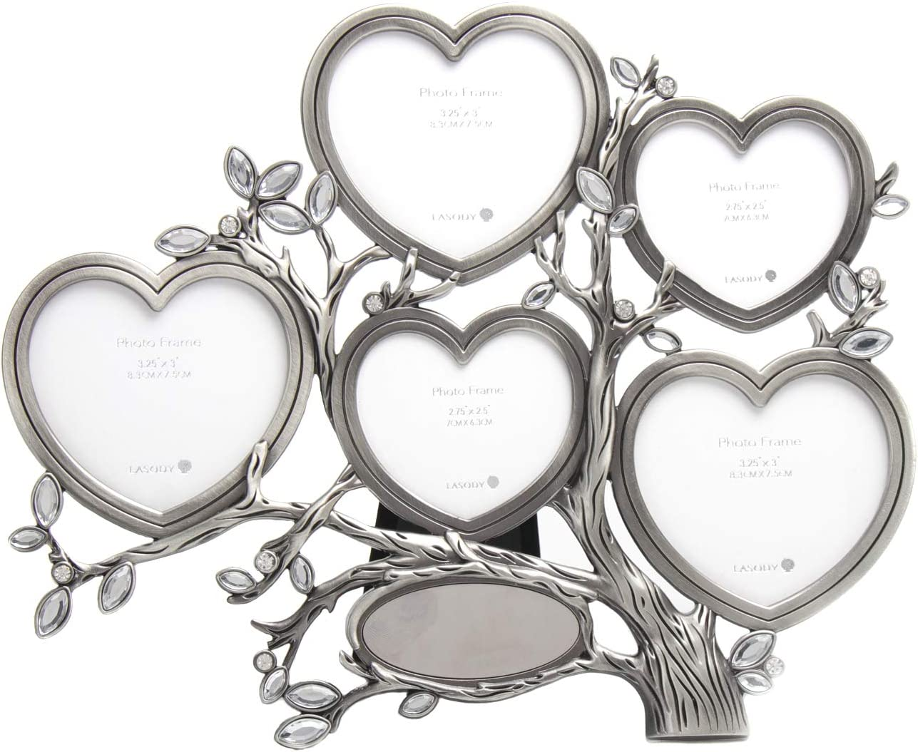 LASODY Antique Silver Personalized Family Tree With 5 Picture Frames,Metal Table Top Photo Frame Decoration (2.75X2.5+3.25X3, Picture Frame with Engraving Plate Included)