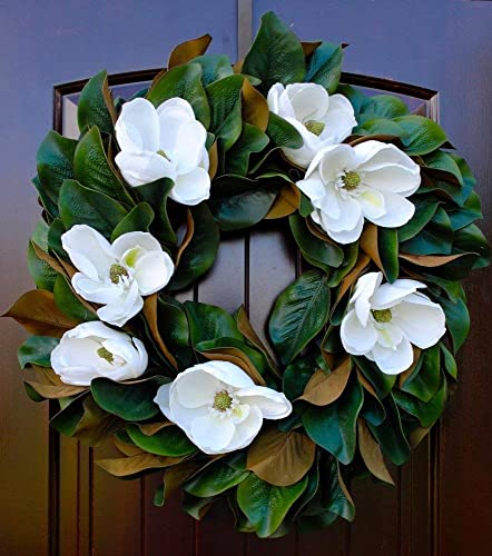 Amazon Com Southern Magnolia Wreath With Blooms And Leaves For
