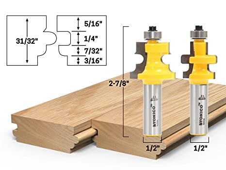 Yonico 15230 Flooring 2 Bit Tongue And Groove Flooring Router Bit
