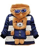 DDSOL Baby Boys Infant Jackets Coats Hoody For Kids Cute Winter Bear Ears Stripe Fleece Outerwear 6 12 Months 1 2 3 Year