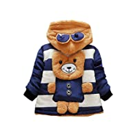 Tkria Baby Boys Coats Winter Christmas Bear Jacket Buttons Outwear Thick Hoodie UK Size 6 Months to 3 Years