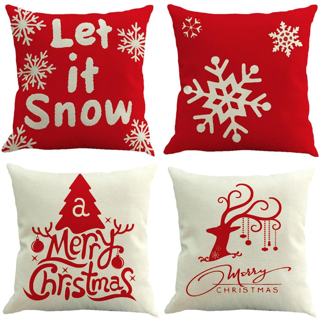 Cushion Cover , Janly® 4PC Merry Christmas Decorative Pillowcases 18