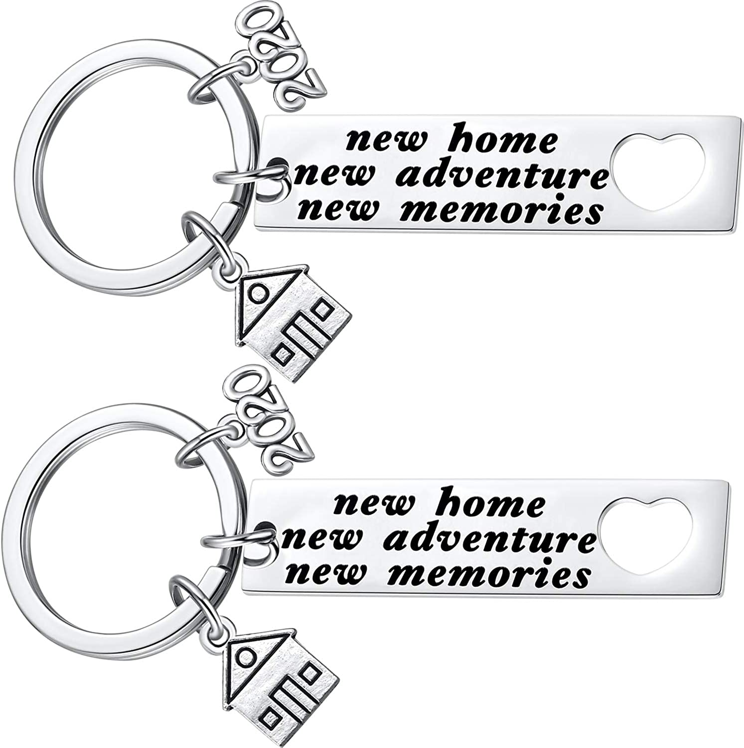 2020 New Home New Adventures New Memories Keychain Housewarming Gift for New Homeowners New House Keyring Moving in Together First Home Key Chain