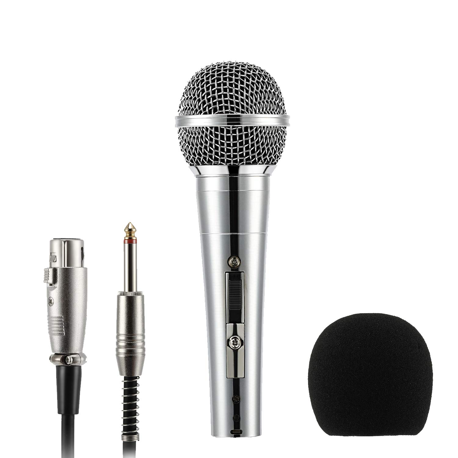 Moukey Dynamic Microphone, MWm-3 Multipurpose Metal Wired Cardioid Handheld Mic with Switch 16.40 ft XLR Detachable Cable for Singing, Karaoke Machine, Vocal, Party, Stage by Moukey