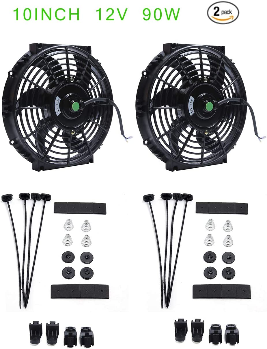(Pack of 2) Engine Radiator Cooling Fan 10 Inch Curved Blade Ultra Thin Universal High Performance 12V 90W Motor,Radiator Fan With Fan Mounting Kit(Puller and Pusher Design)