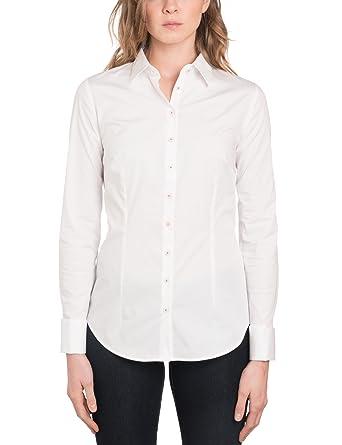 15327bdb27e5f HAWES   CURTIS Womens Elegant White Semi Fitted Cotton Shirt Red Single Cuff