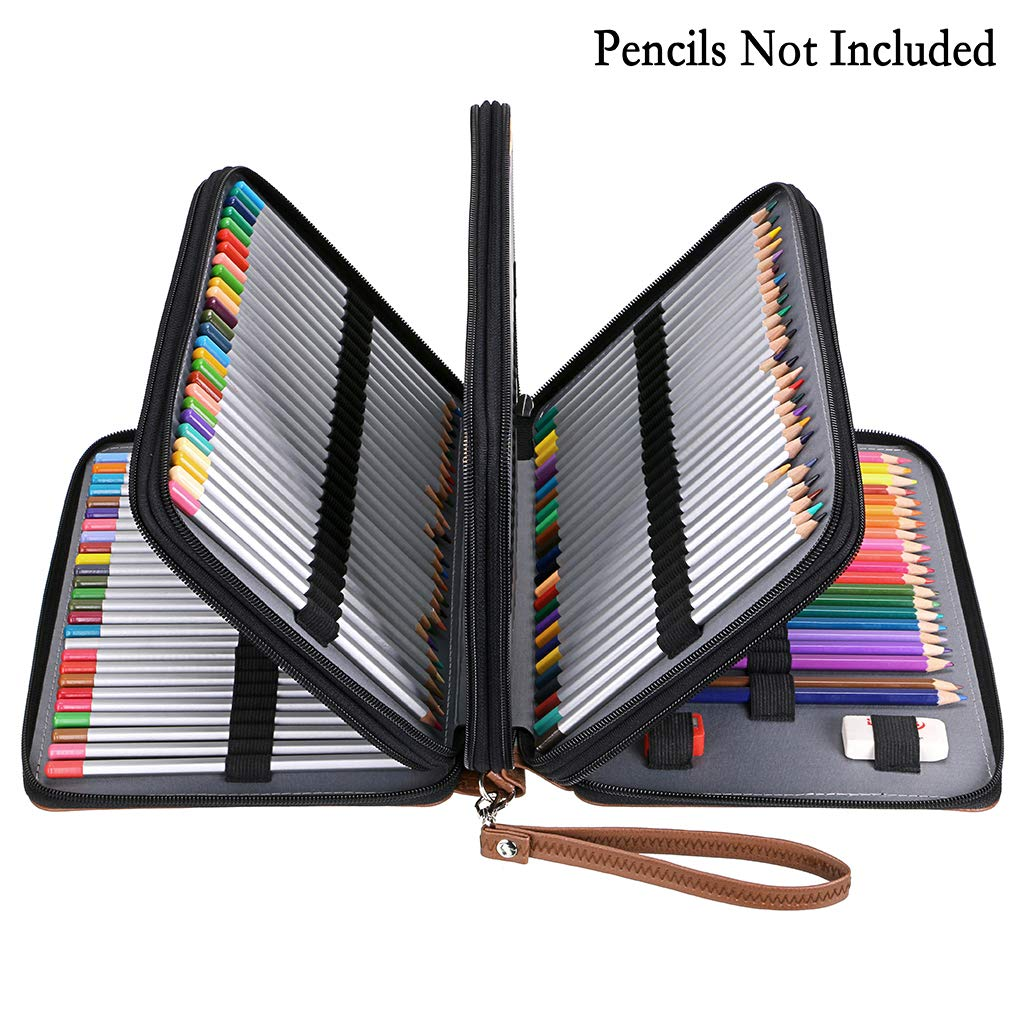 BTSKY 200 Slots Colored Pencil Organizer - Deluxe PU Leather Pencil Case Holder with Removal Handle Strap Pencil Box Large for Colored Pencils ...