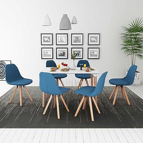Lingjiushopping 7 Pz Set Tavolo e Sedie Sala da Pranzo Bianco e Blu ...