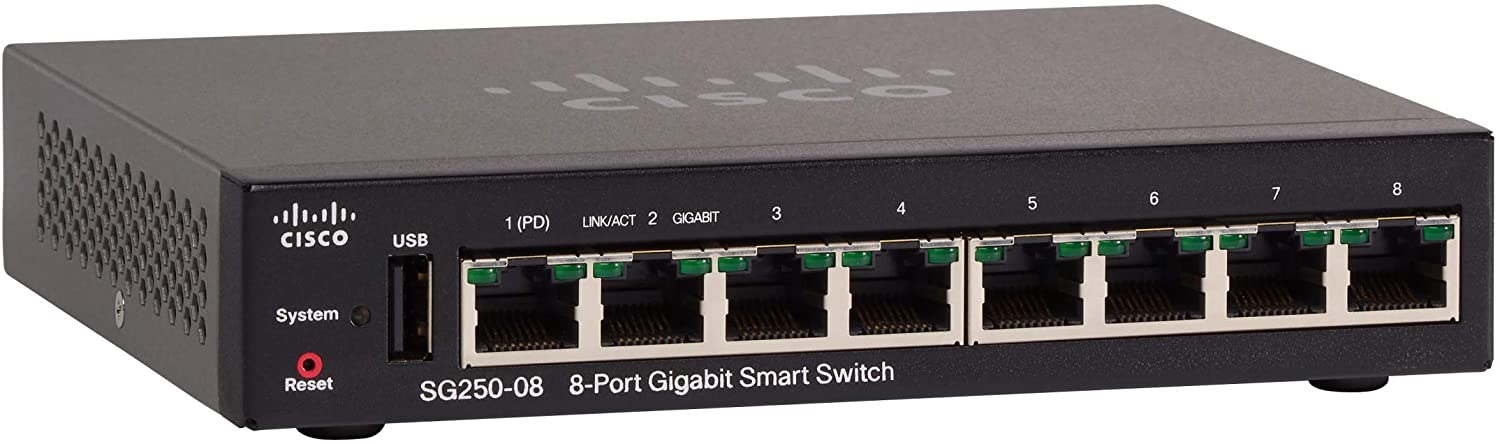 Cisco SG250-08 Smart Switch with 8 Gigabit Ethernet (GbE) Ports with 8 Gigabit Ethernet RJ45 Ports, Limited Lifetime Protection (SG250-08-K9-NA)