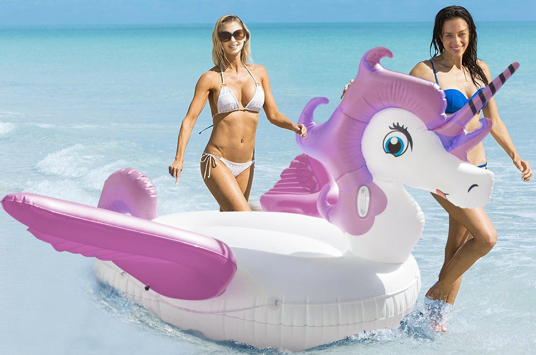 neuer fantastischer riesiger aufblasbarer Einhorn Schwimm Pool mit Flügel,Unicorn Pool-Party Schwimmtier Luftmatratze mit Kunststoffhalter,Einhorn Schwimmbad Floß Raft für Erwachsene Kinder,von HooYL (Violett)