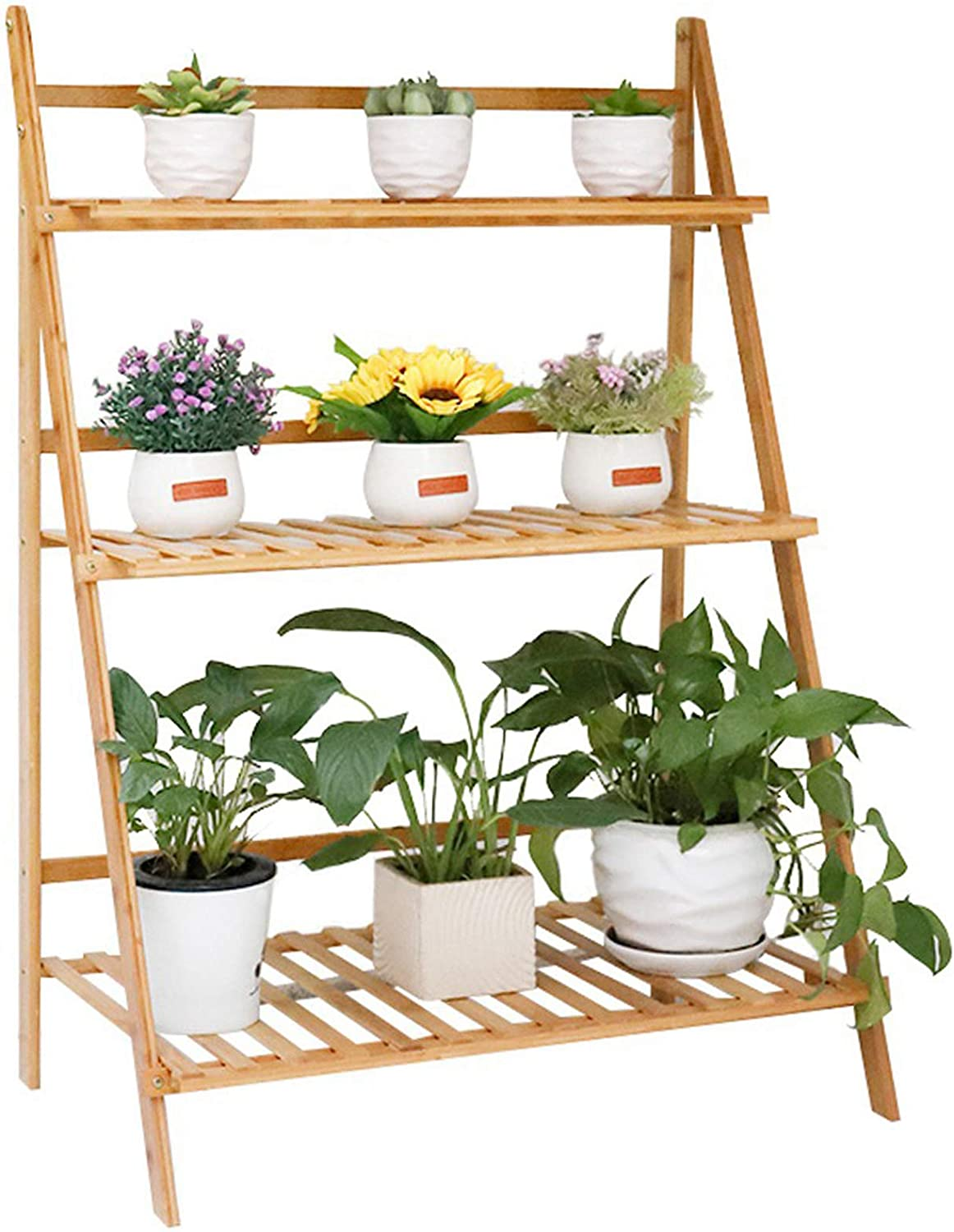 Unho Bamboo Foldable Plant Stand 3 Tier Ladder Displaying Shelf Rack Indoor Flower Pot Succulents Small Planters Organizer Home Garden 70cm Length Garden Outdoor