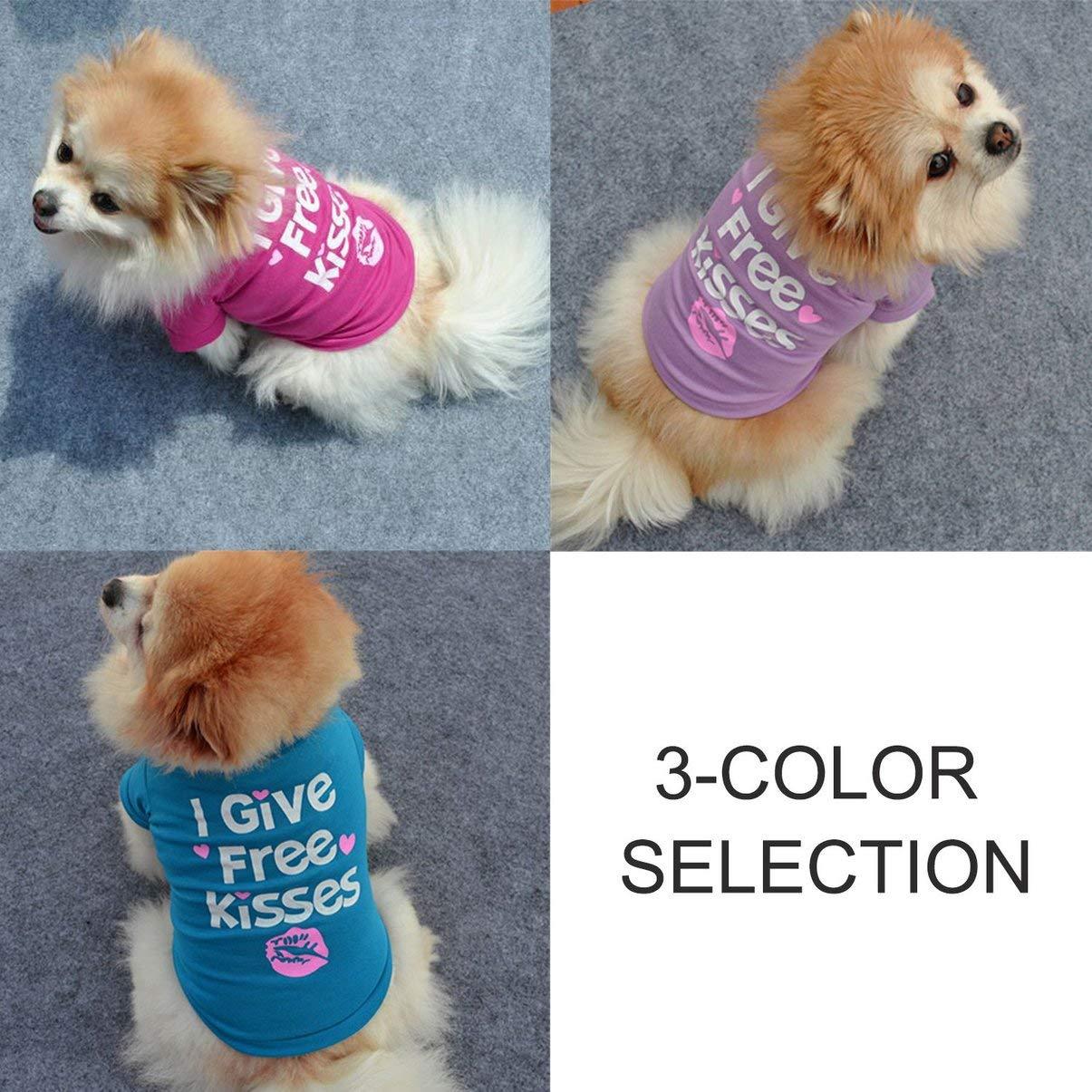 JullyeleESgant Perro de Moda Camisa para Mascotas Impresi/ón de Letras de Manga Corta Suave y c/ómodo de algod/ón Camisetas Ropa Transpirable para la Primavera oto/ño