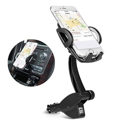 4b4ee6a2792177 Amazon.com: Car Phone Mount, 3-in-1 Cigarette Lighter Car Mount 360 ...