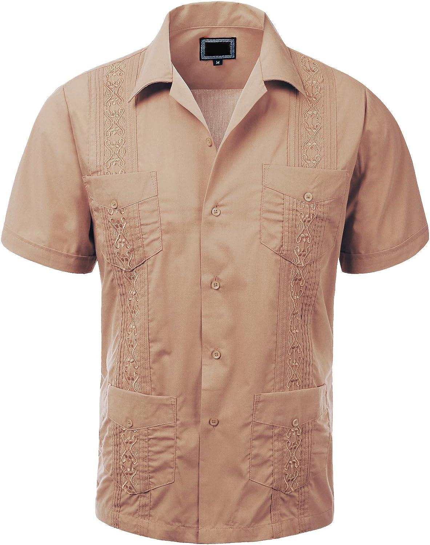 Guytalk - Camiseta de Manga Corta con Botones para Hombre, diseño de Guayabera - Marrón - X-Large: Amazon.es: Ropa y accesorios
