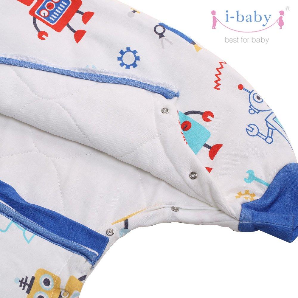 i-baby Gigoteuse Naissance B/éb/é Turbulette Vec Jambes Sac de Couchage Enfant Manche Longue Coton Fille Gar/çon 6 12 18 24 36 Mois 3 4 Ans Printemps Robot
