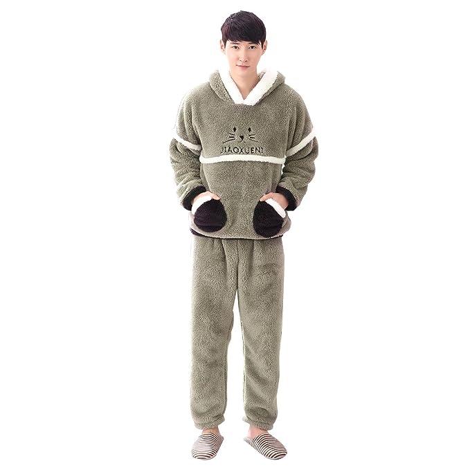 Invierno par pijama de dibujos animados frente a la cara de franela con capucha de manga larga conjunto grueso de coral de cachemir moda servicio a ...