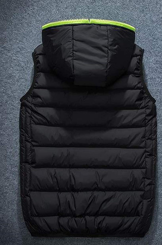 LOKOUO Men Winter Plus Size Hooded Double-Sided Wear Glossy Cardigan Zip Down Waistcoat Down Vests