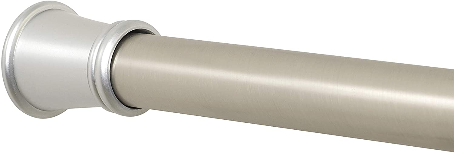 Zenna Home 26 to 76-Inch, Brushed Nickel Adjustable Tension Shower Rod, 26 inches to 76 inches