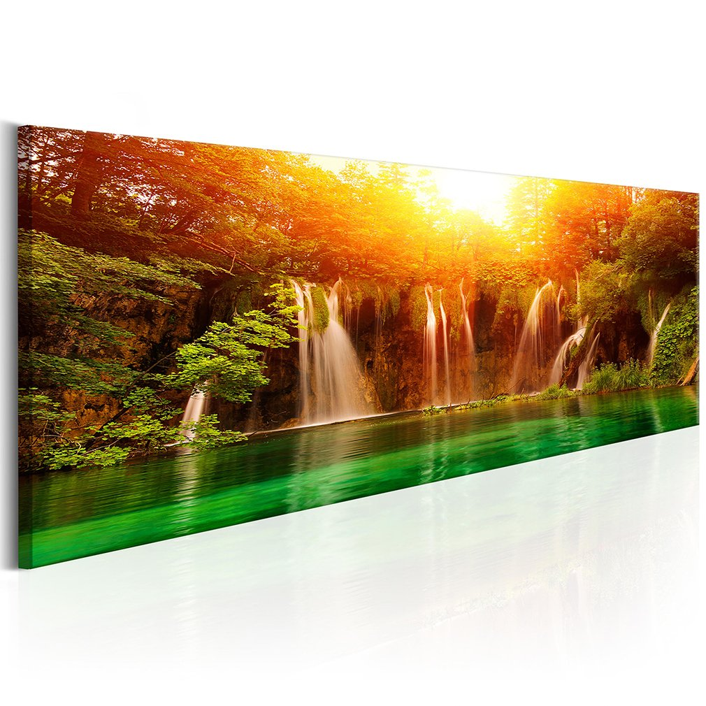 Decomonkey Akustikbild Wasserfall 135x45 cm 1 Teilig Bilder Leinwandbilder Wandbilder XXL Schallschlucker Schallschutz Akustikdämmung Wandbild Deko leise Wald Natur Landschaft
