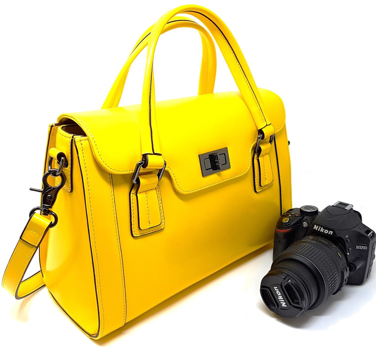Women Camera Bag and Ladies Top-Handle Handbag with Removable Camera Case (Canary Yellow)